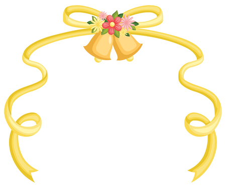 a wedding bell with a yellow ribbon attached Ilustrace