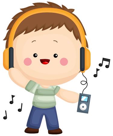un enfant écoute de la musique avec son lecteur mp3