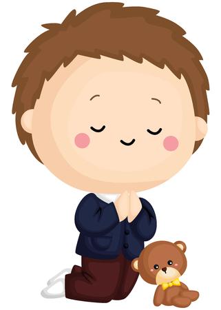 a kid praying with a teddy bear beside him Illustration