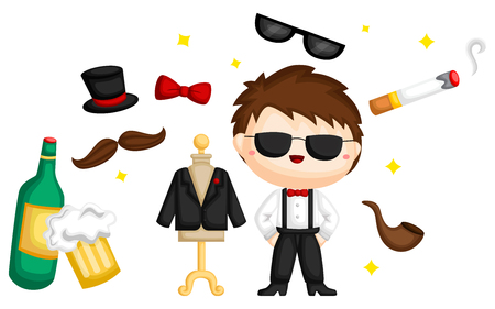 set of a bachelor party related items Illustration