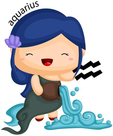 Acuario signo del zodíaco representado por una niña y un agua que fluye Ilustración de vector