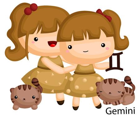 signe du zodiaque gémeaux représenté par une fille jumelle avec leurs chats