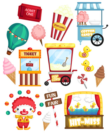 a carnival set with many carnival items and object