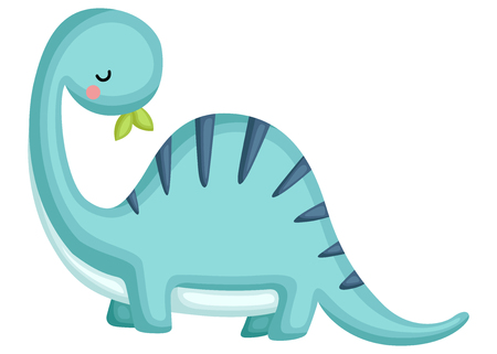 a blue brachiosaurus looking behind his back Stock Vector - 112508620