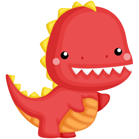 a cute red dinosaur with teeth poking out