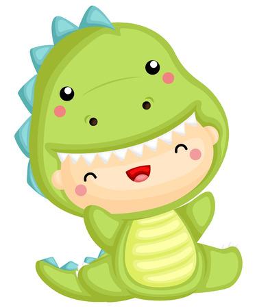 een schattige baby die een dinosauruskostuum draagt