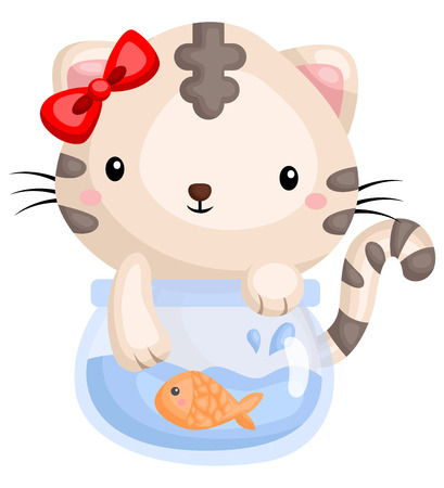 a cat playing with a fish in a bowl