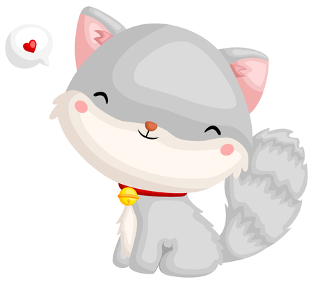 an adorable grey cat with a smile and a heart