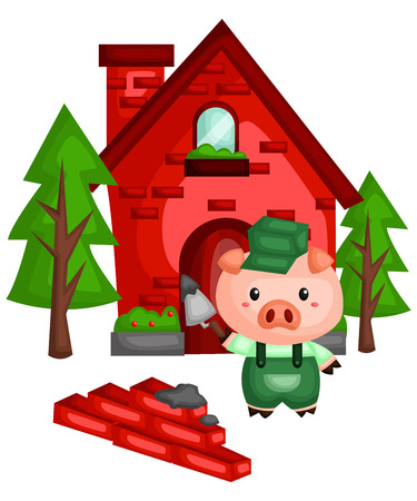 a pig with a sturdy brick house he made 向量圖像