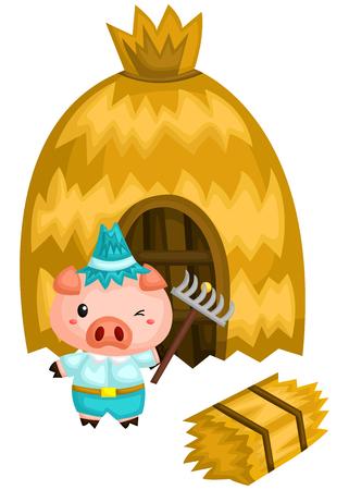 een varken en zijn huis dat is gemaakt van een rietje Vector Illustratie