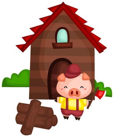un maiale con una casa di legno fatta con il legno che ha tagliato