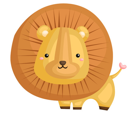 a cute and adorable lion standing mighty  イラスト・ベクター素材