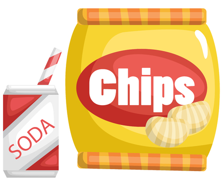 a vector of chips and a soda Illustration