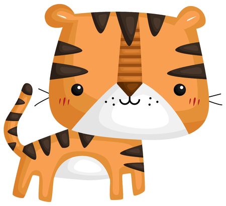 a vector of a cute and adorable tiger