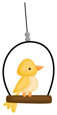 a vector of a cute bird hanging Illustration