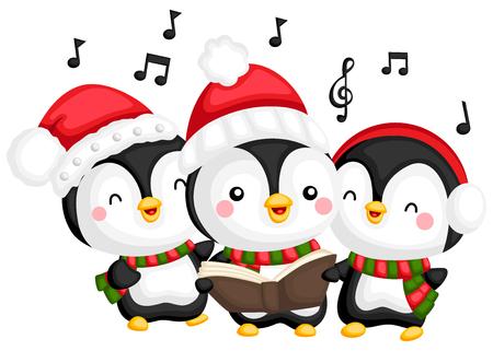een vector van een koor van zingende pinguïns