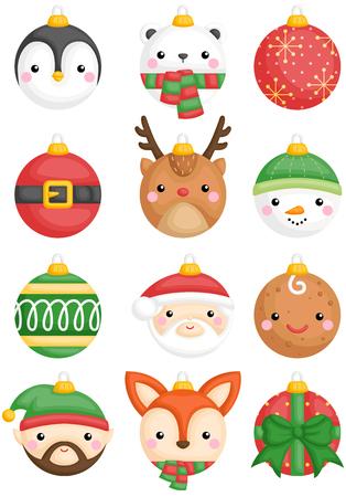 Un conjunto de vectores de animales lindos y decoración de bolas de navidad de personajes Ilustración de vector