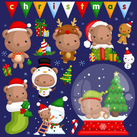 A vector set of cute little bear in various poses and costume for christmas celebration Illustration