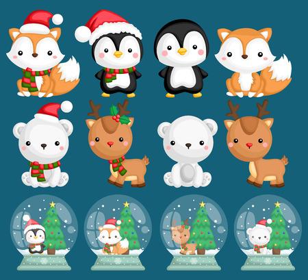 ein Vektorsatz vieler Tiere in Schneekugeln