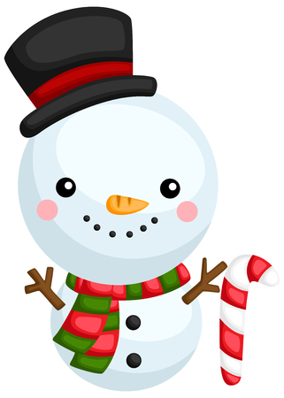 a vector of a cute and adorable snowman  イラスト・ベクター素材