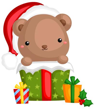 A vector of cute little bear using hiding inside a christmas gift box