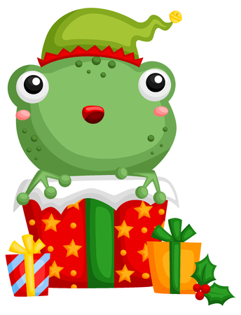 A vector of cute little frog hiding inside a christmas gift box