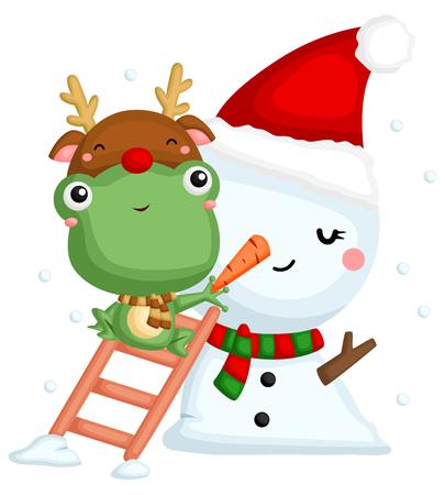 A vector of cute little frog climbing stair put a carrot nose to a snowman