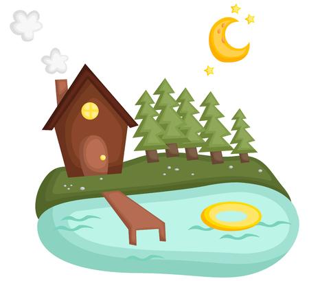 una simple cabaña en el lago con luna y estrellas