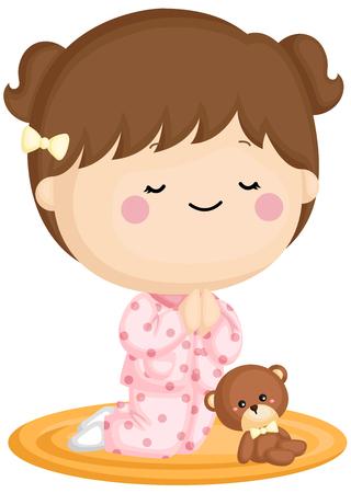 Un set vettoriale di una bambina carina che prega prima di andare a dormire Vettoriali