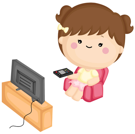 A vector set of a cute little girl watching television at home