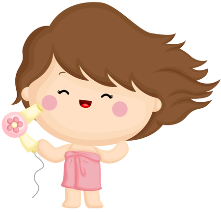 A vector set of a cute little girl blow drying her hair with hair dryer Illustration