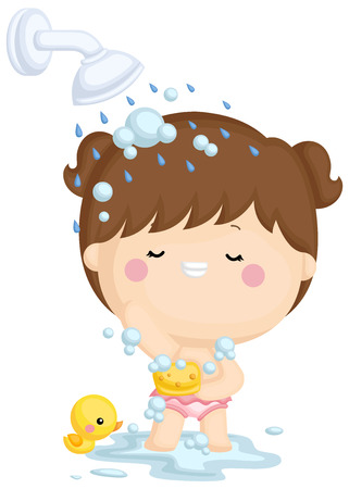 A vector set of a little girl showering in joy