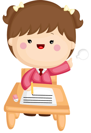 A vector set of a cute little girl studying at school Illustration