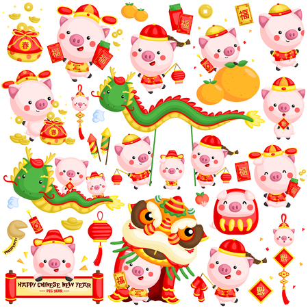 A vector set of pigs in Chinese new year celebration costume and items Illustration