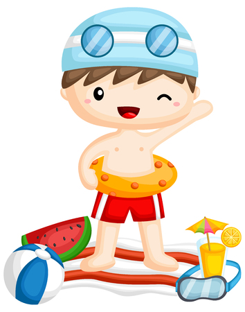 a vector of a boy with a beach related items