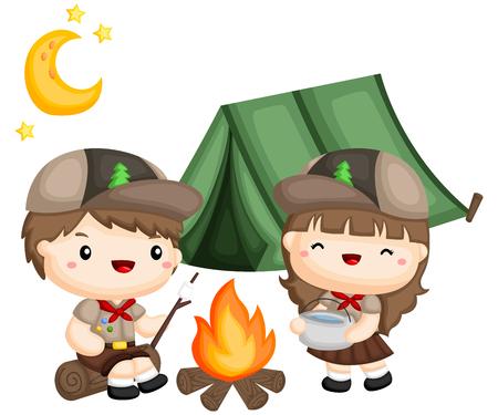 un garçon et une fille faisant la cuisine à l'extérieur de la tente