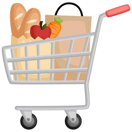 a shopping cart full of goodies Ilustração