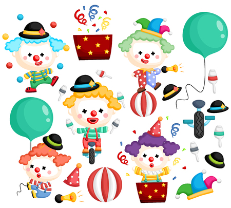 a vector of a clown vector set with many poses