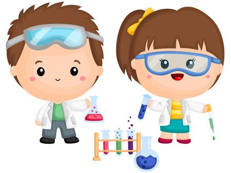 un couple d'enfants faisant une expérience de chimie