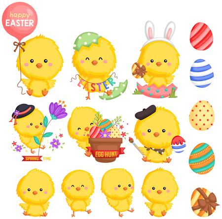 an Easter theme chicken with many poses Ilustración de vector