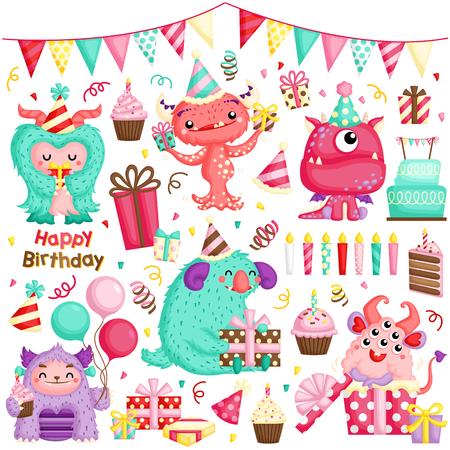Un ensemble de vecteur de mignon petit monstre Girly célébrant l'anniversaire avec beaucoup de cadeaux et de gâteaux