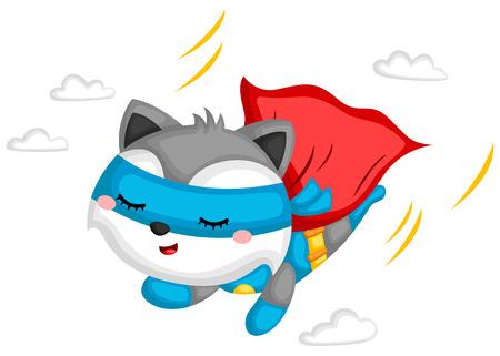 a vector of a raccoon dressed as superhero Иллюстрация