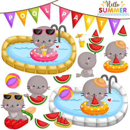 A Vector of Cute Little Seals Eating Sweet Watermelon and Partying at the Pool