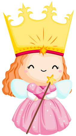 a vector of a happy fairy with her wand