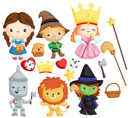 un conjunto de vectores de muchos personajes en el mago de oz