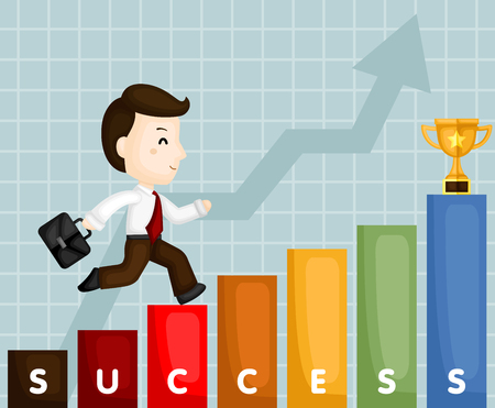 A Vector of Cute Businessman Climbing Stair to Have a Successful Career Illustration