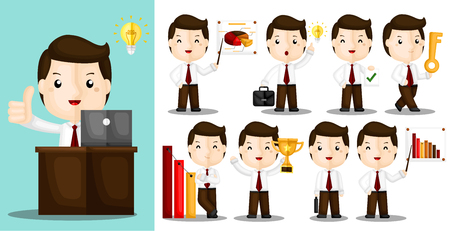 A Vector Set of Cute Businessman Working Hard on Their Workplace