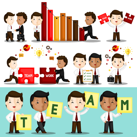 A Vector Set of Cute Businessman Working Hard Together to Build their Great Teamwork Ilustrace