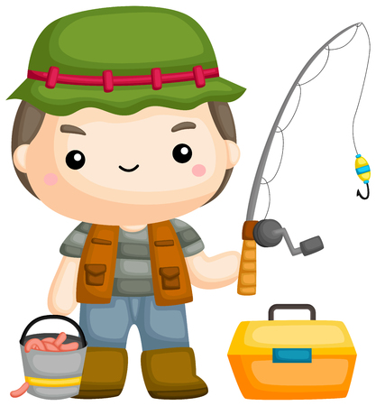 a vector of a fisherman with his fishing rod