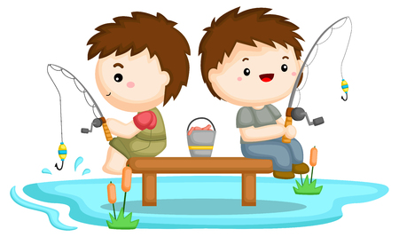 two brothers fishing together at a lake Ilustrace